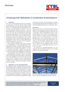 Energiesparende Maßnahmen in bestehenden Gewächshäusern | KTBL